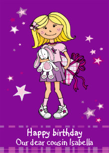 happy birthday cousin blonde girl purple card