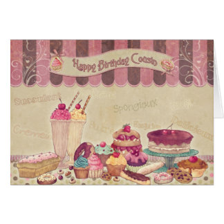 Happy Birthday Cousin - Cakes And sweets Card