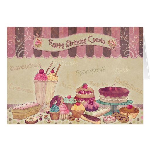 Birthday Cake Images For Cousin Sister : Happy Birthday Cousin - Cakes And sweets Card Zazzle