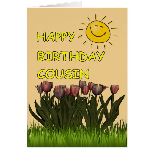 Birthday Flowers For Niece: Happy Birthday Cousin Sun And Flowers Greeting Card