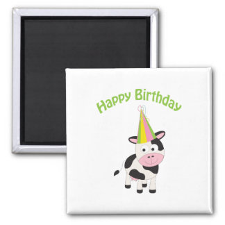 Happy birthday cow 2 inch square magnet