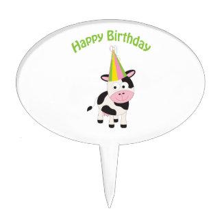 Happy birthday cow cake picks