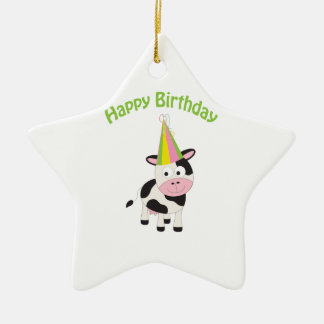 Happy birthday cow ceramic ornament