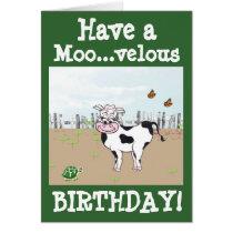 Happy Birthday - Cow Customizable Card