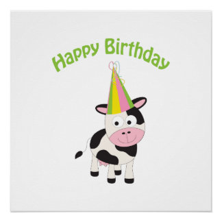 Happy birthday cow poster