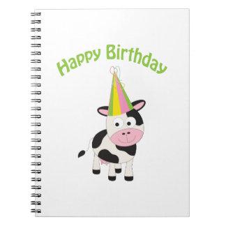 Happy birthday cow spiral notebook