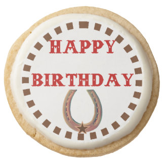 Happy Birthday Cowboy and Cowgirl Round Shortbread Cookie