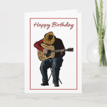 Happy Birthday Cowboy with Guitar Illustration Card
