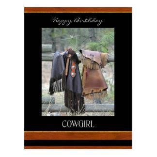 Happy Birthday Cowgirl Postcard / Chaps