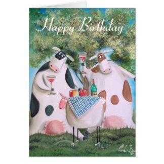 Happy Birthday cows Greeting Card