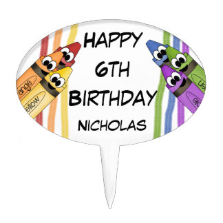 Happy Birthday Crayons Cake Topper