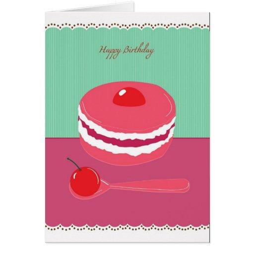 happy birthday cream cake card