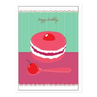 happy birthday cream cake postcard