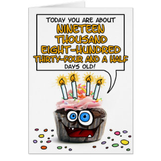 Happy Birthday Cupcake - 54 years old Card