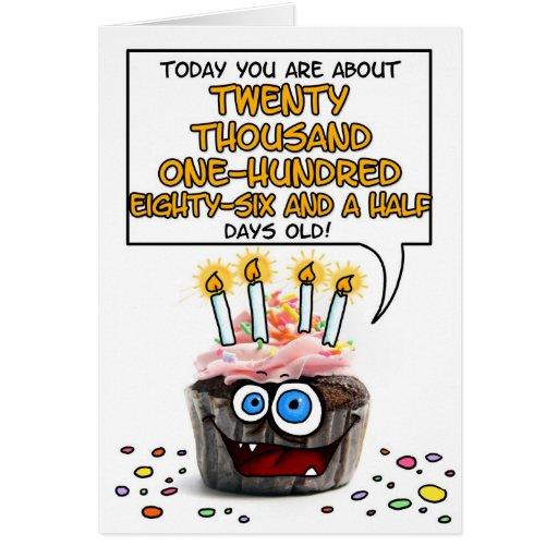 Happy Birthday Cupcake - 55 years old Card