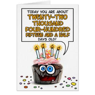 Happy Birthday Cupcake - 61 years old Card
