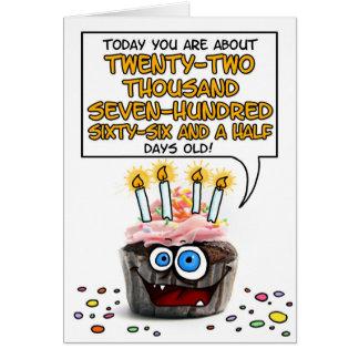 Happy Birthday Cupcake - 62 years old Greeting Card