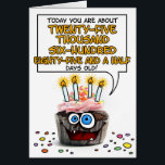 """Happy Birthday Cupcake - 70 years old Card<br><div class=""""desc"""">How many days old are you - fun birthday card for a 70 year old</div>"""