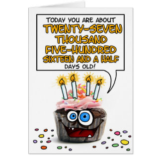 Happy Birthday Cupcake - 75 years old Card