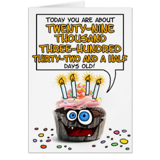Happy Birthday Cupcake - 80 years old Card