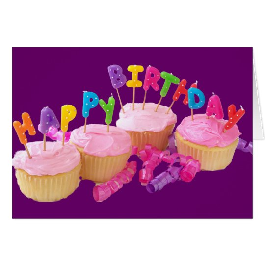 Happy Birthday Cupcake and Candles Card