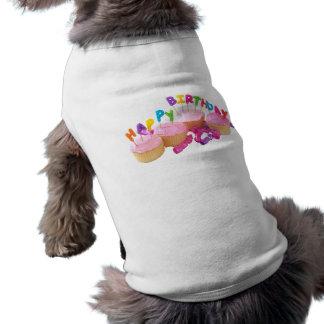 Happy Birthday Cupcake and Candles Dog Shirt