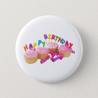 Happy Birthday Cupcake and Candles Pinback Button
