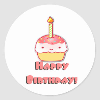 Happy Birthday Cupcake Classic Round Sticker