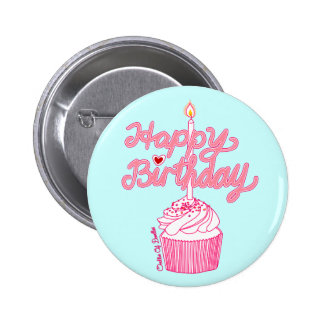 Happy Birthday Cupcake Doodle Art Button