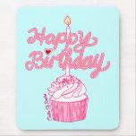 Happy Birthday Cupcake Doodle Art Mousepad