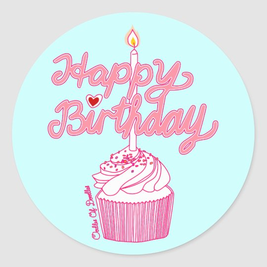 Happy Birthday Cupcake Doodle Art Sticker