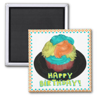 happy birthday cupcake magnet