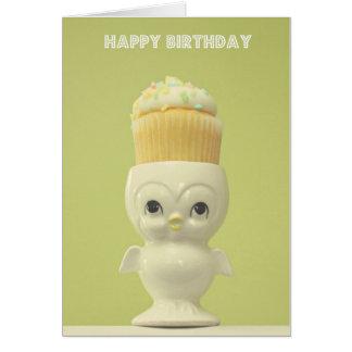 Happy Birthday Cupcake Owl Greeting Card