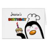 Happy Birthday cupcake penguin chef Card