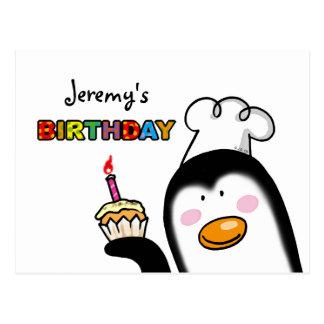 Happy Birthday cupcake penguin chef Postcard
