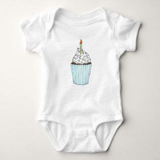 Happy Birthday Cupcake w/ Candle Infant Suit Baby Bodysuit