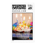 Happy Birthday Cupcake with Candles Postage