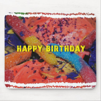 Happy Birthday Cupcakes and Gummy Worms Mousepad