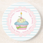 Happy Birthday Cupcakes Blue Stripes with Pink Coaster