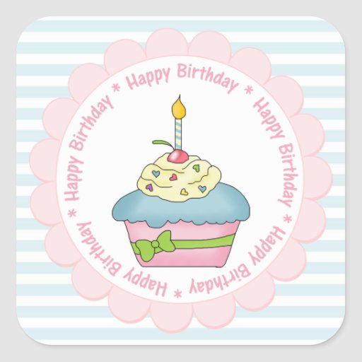 Happy Birthday Cupcakes Blue Stripes with Pink Stickers