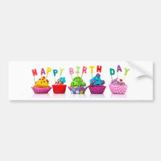 Happy Birthday Cupcakes - Bumper Sticker