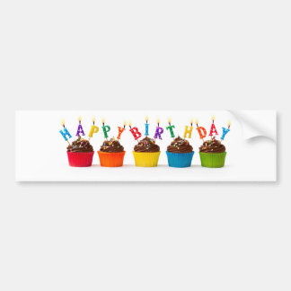 Happy birthday cupcakes bumper sticker