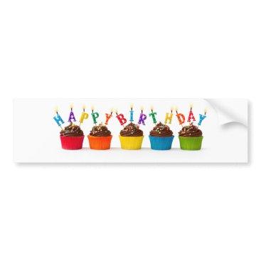 birthday Happy birthday cupcakes bumper sticker