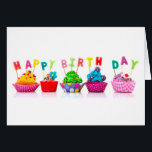 """Happy Birthday Cupcakes Card<br><div class=""""desc"""">Celebrate the Birthday Child/Adult with a special,  festive,  sweet,  cupcake picture. Fun and Colorful</div>"""