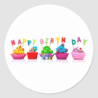Happy Birthday Cupcakes - Circle Stickers