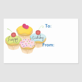 Happy Birthday Cupcakes Gift Tag Stickers