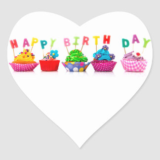 Happy Birthday Cupcakes Heart Sticker