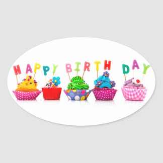Happy Birthday Cupcakes Oval Sticker
