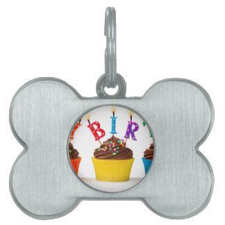Happy birthday cupcakes pet ID tag