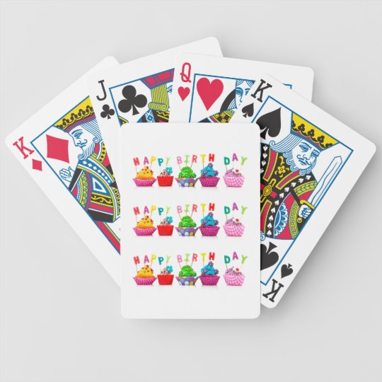 Happy Birthday Cupcakes Playing Cards Zazzle